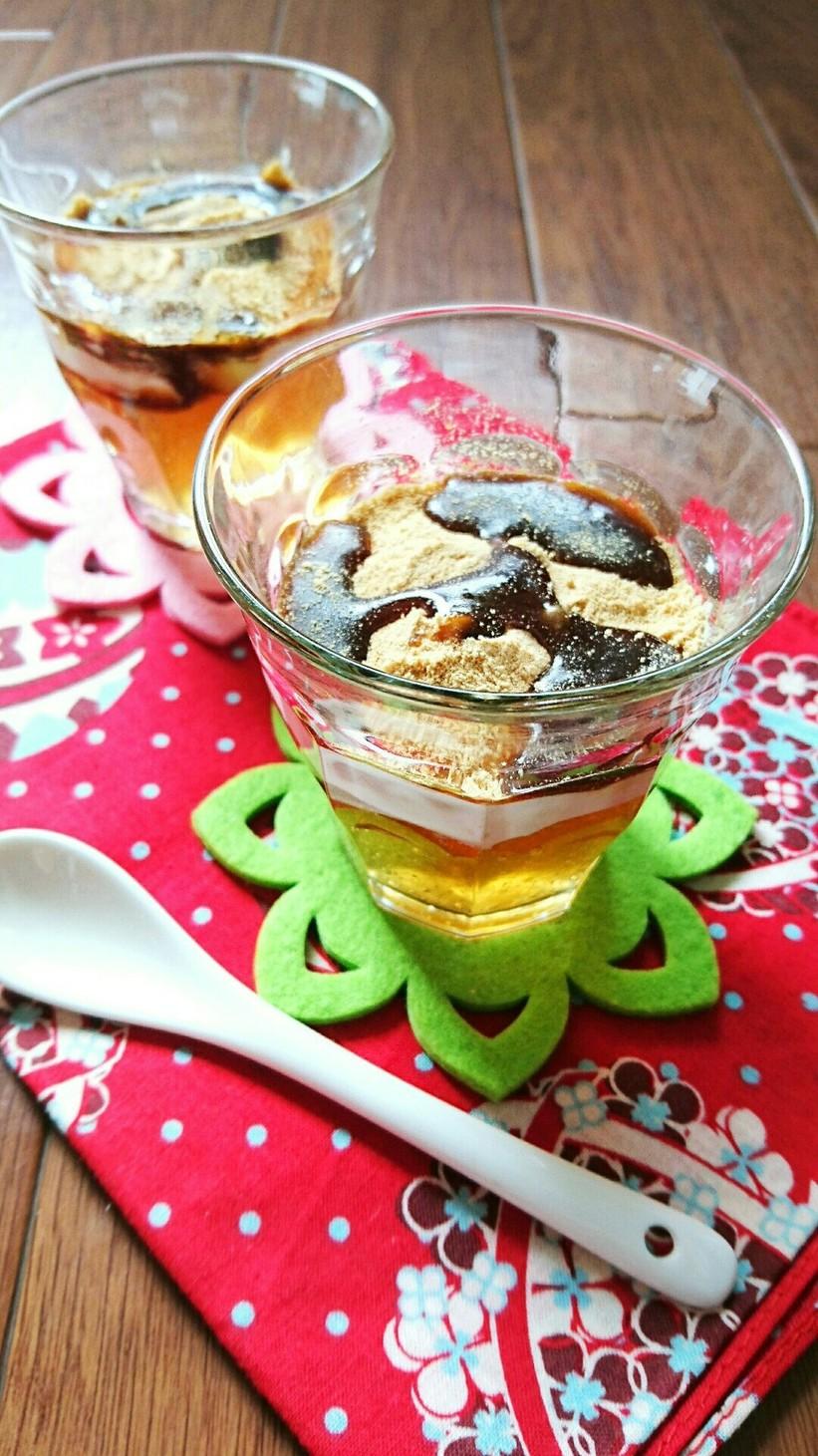 グラスで作る☆ふわとろくりいむわらび餅。