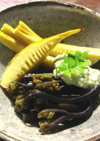 筍と蕨の木の芽(山椒の葉)ソース