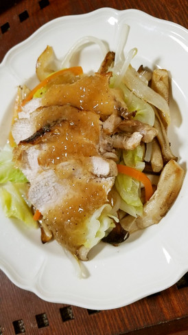 温野菜と鶏むねのソテー★簡単玉ねぎソース