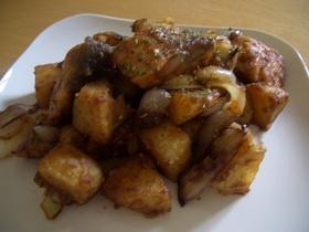 鮭とポテトのハニーマスタード炒め