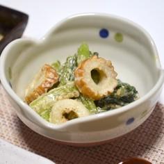 レンジで簡単小松菜とちくわのごまマヨ和え