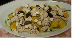 鶏ハム&かぼちゃ&オリーブの3重奏サラダ