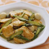 鶏肉とアスパラガスの甘酢炒め