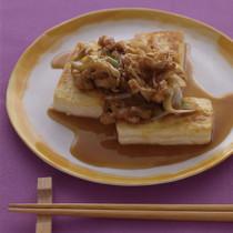 豆腐ステーキ豚ねぎソース
