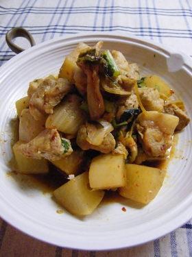 豚肉と大根の酒蒸し キムチ風味