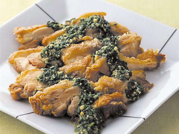 鶏のから揚げにらソース