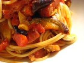 茄子とベーコンのトマトパスタ