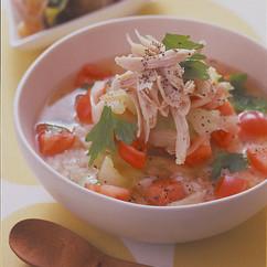 ささ身とトマトのスープかけご飯