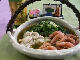 菜花と甘海老、鱈の白子の煮物