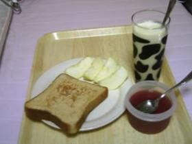 朝食;きなこトースト/オレンジ豆乳/寒天ゼリー