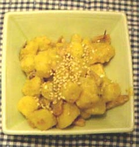 胡麻ドレ味がしみたさつま芋のサラダ