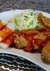 鶏のから揚げとトッポギのコチィジャンタレ