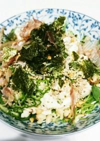 豆腐と水菜のサラダに節分のマメのせた。