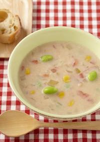 コロコロ夏野菜がたっぷりの豆乳スープ