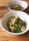 エンドウ豆と挽肉の卵とじ