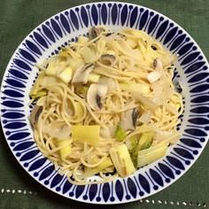 セロリとマッシュルームのスパゲティ