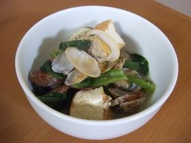 アサリと厚揚げと小松菜の煮物