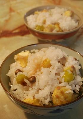 秋いっぱい☆栗と銀杏とむかごのご飯
