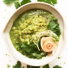 生ハム&グリーンスープの押し麦リゾット