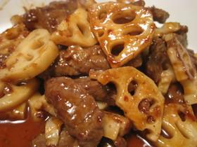 れんこん&牛肉のアプリコット醤油炒め