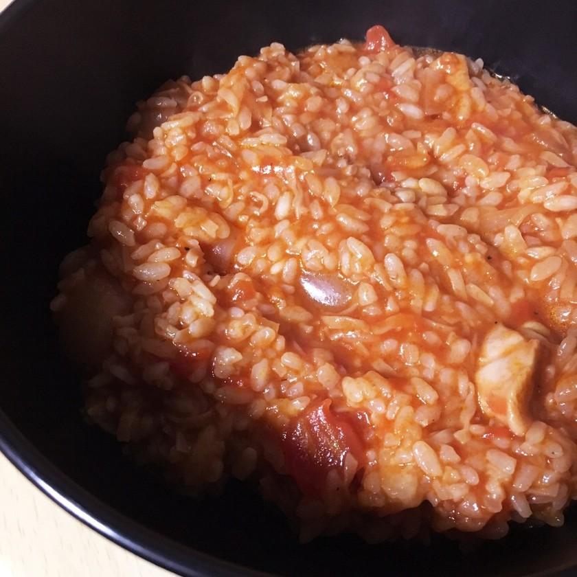 節約飯♪チキンラーメントマト煮込み雑炊♪
