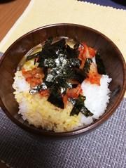ラー油キムチのすぐ楽!卵かけご飯の写真
