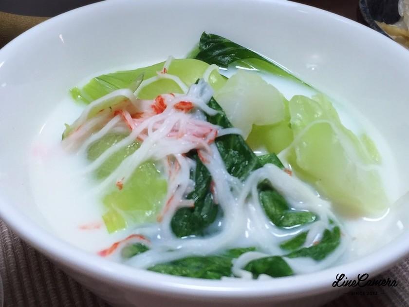青梗菜とカニカマのミルク煮