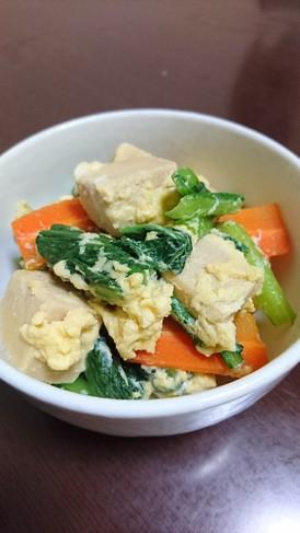 高野豆腐と小松菜の卵とじ