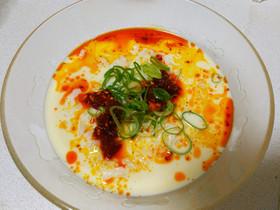 豆乳と食べるラー油のスープご飯