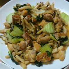 鶏モモ肉ときのことチンゲン菜の照り焼き風