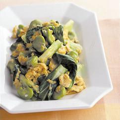 青梗菜とそら豆の卵炒め