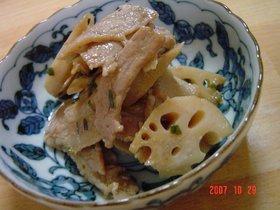 レンコンと豚バラのウマウマ味噌炒め