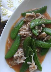 スナップエンドウと豚肉の簡単煮