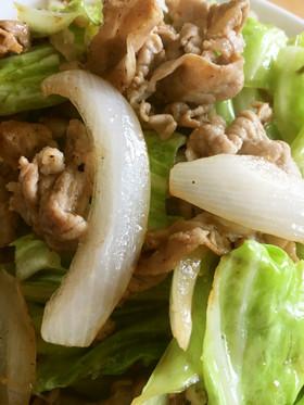 春キャベツと新玉ねぎと豚肉の塩炒め