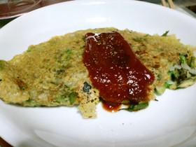 タラの芽とクレソンのひよこ豆粉のオムレツ