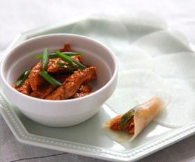 大豆のお肉の韓国風大根クレープ