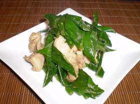 葱の青い所と鶏の甘辛炒め