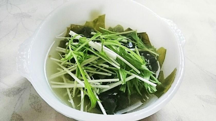 わかめと水菜の生姜スープ
