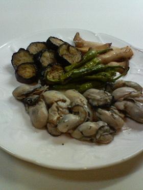 白ワインにぴったり牡蠣のソテーと焼き野菜