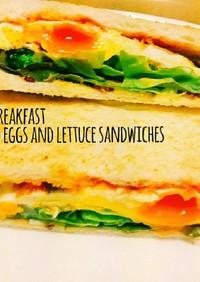 簡単朝食☆目玉焼きとレタスのサンドイッチ