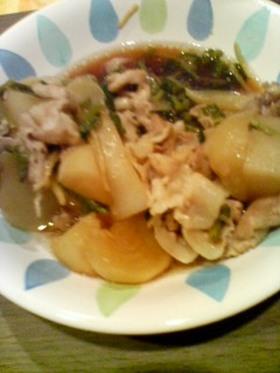 しょうがをきかせて!かぶと豚肉の煮物