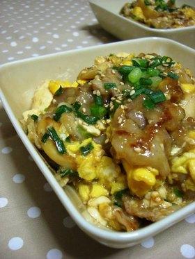 お豆腐と卵でふわふわ♡豚肉の炒め物
