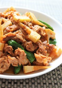 たけのこ入り豚肉のピリ辛韓国風プルコギ。