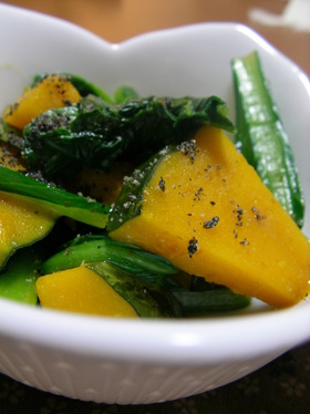カボチャと小松菜のマヨジャーマン風