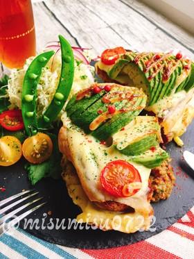 アボカドのせキーマカレーチーズトースト