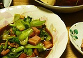 青梗菜とベーコンのオイスターソース炒め