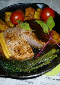 こしあぶら+豚ロース厚切り肉ステーキ