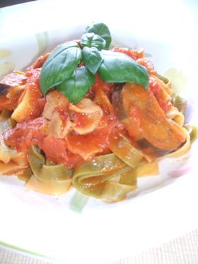豚肉+茄子の簡単トマトスパ
