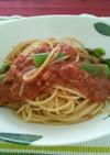 スナップエンドウのトマトソースパスタ