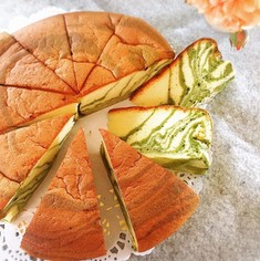 抹茶のゼブラケーキ